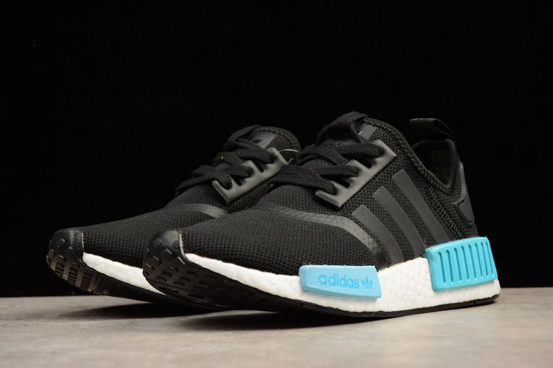 low priced 7fb98 c16a3 Adidas NMD R1 Icey Blue Black White BY9951 Women's Casual Shoes