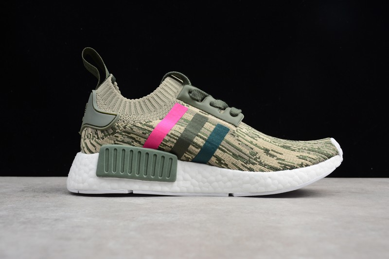 Adidas Nmd R1 Primeknit Camo Features Green Night And Shock Pink
