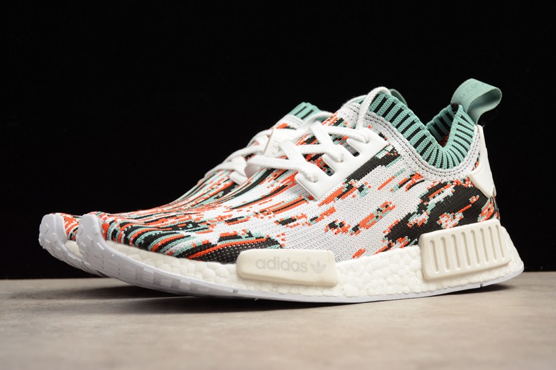 Adidas Nmd R1 Primeknit Glitch Camo Orange Datamosh Mens Womens