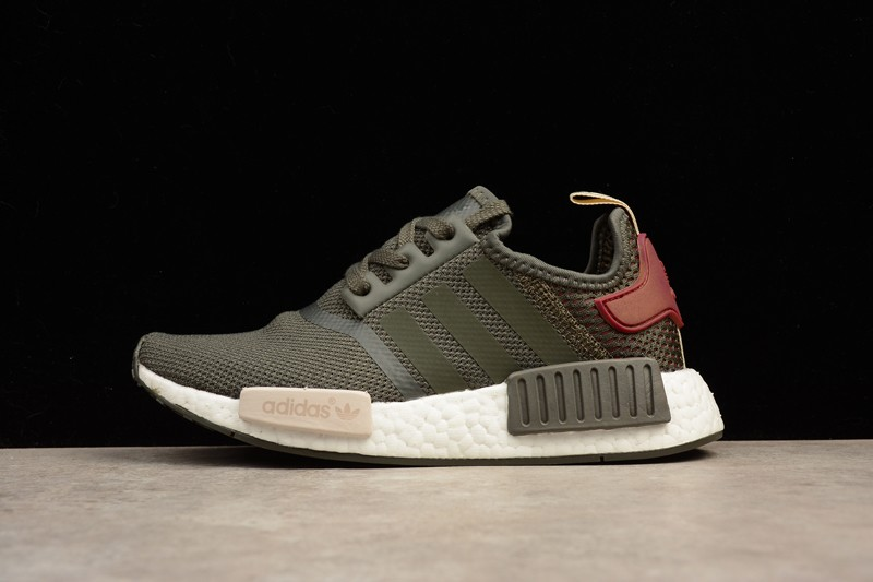 huge discount c408e d65cf Adidas NMD R1 Utility Grey/Olive Green/Maroon BA7752 For Sale
