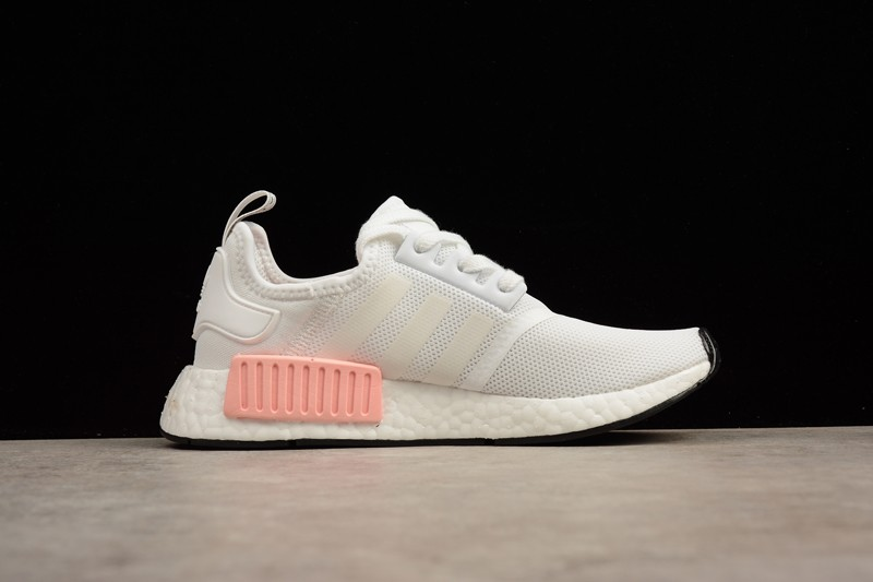 quality design dc818 a4739 Adidas NMD R1 White Rose BY9952 Womens Casual Running Shoes