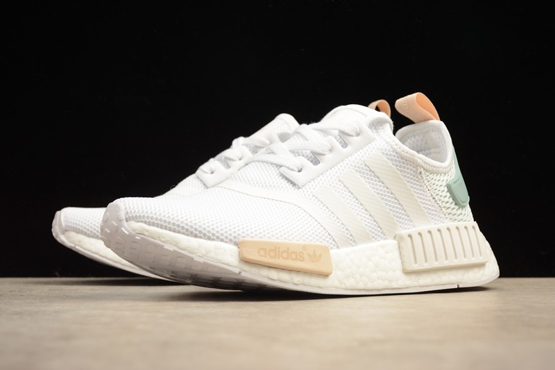 New Adidas NMD R1 BY3033 White Tactile/Green Casual Sneakers ...