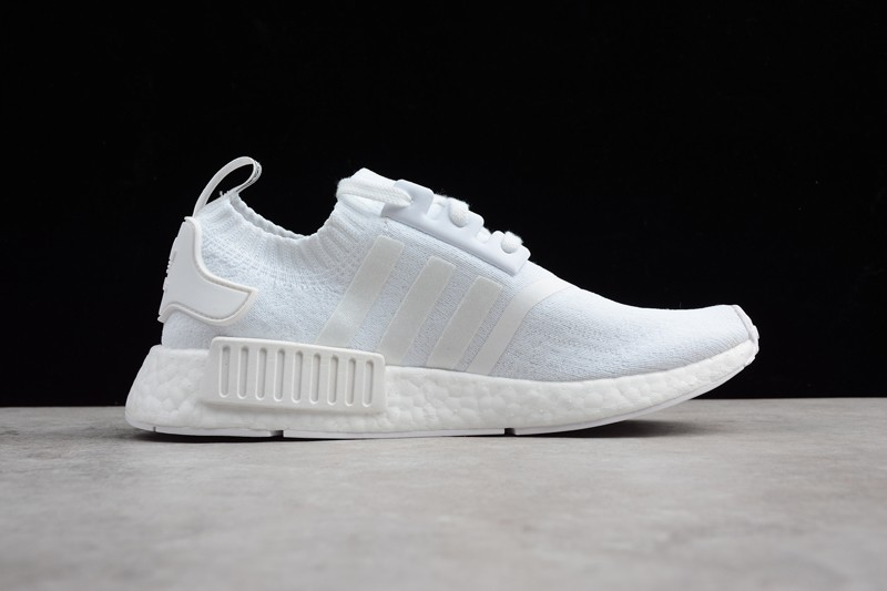 sports shoes 71a6a 7e835 New Adidas NMD R1 Triple White Men's And Women's Casual Sneaker