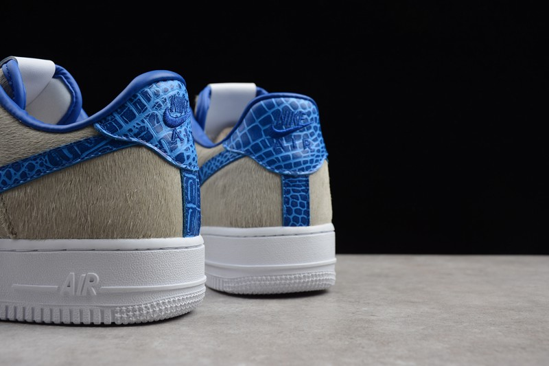 5d773bd51a4c 2018 New Nike Air Force 1 Low Pony White-Blue Metallic Croc AO8111 ...
