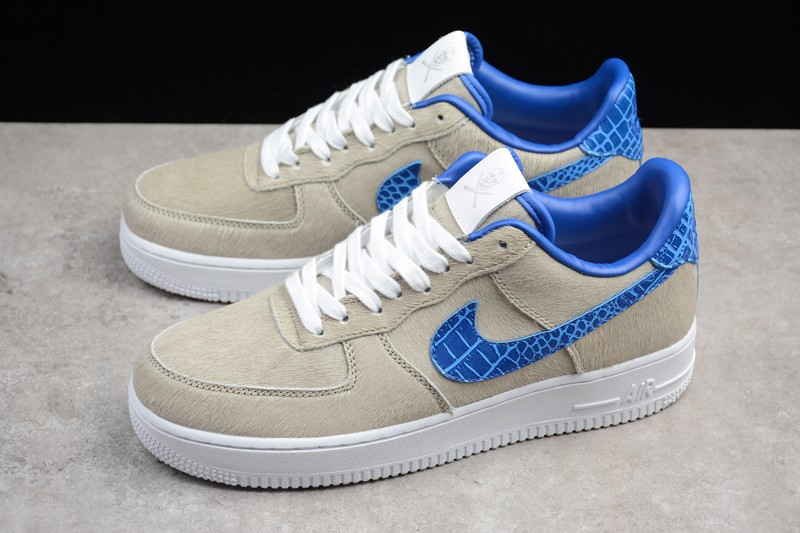 pretty nice 85da0 16d0a 2018 New Nike Air Force 1 Low Pony White-Blue Metallic Croc AO8111-100  Skateboarding Shoes