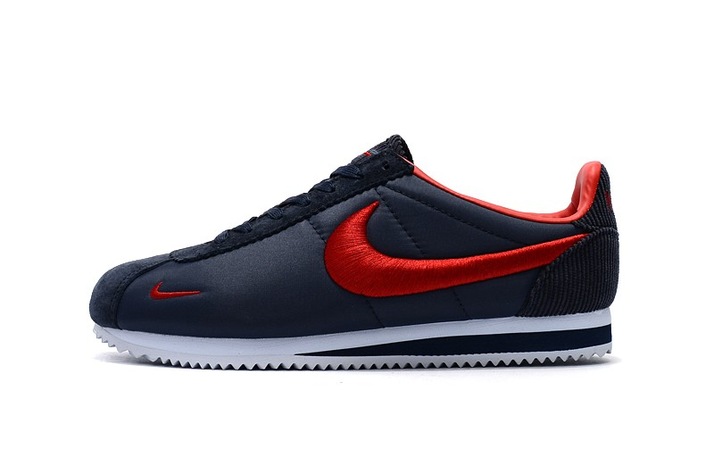 new product b8fe6 89ab7 High Quality Nike Cortez Nylon Embroidery Dark Blue/Red Running Sports Shoes