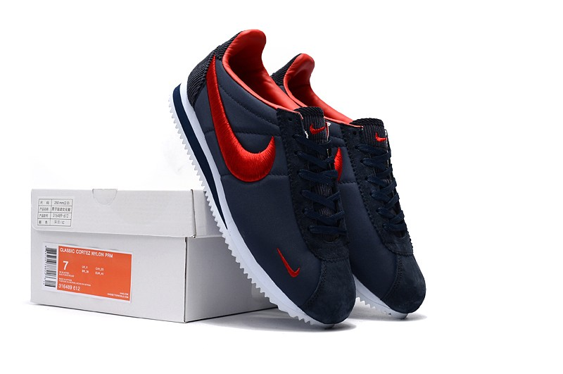 new product 877a0 57481 High Quality Nike Cortez Nylon Embroidery Dark Blue/Red Running Sports Shoes