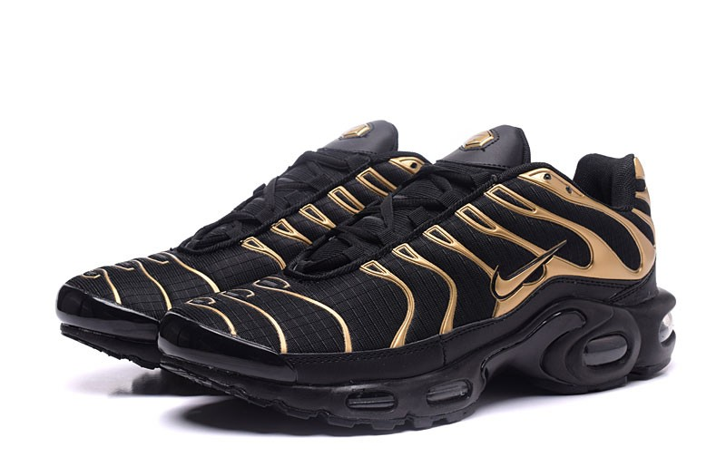 the latest ea575 a2a56 Most Popular Nike Air Max Plus TN Ultra Black/Gold Running Shoes For 2018
