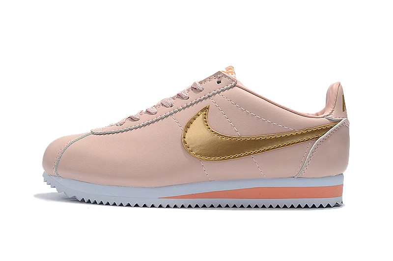 newest de721 43292 Most Popular Nike Cortez Leather Pink/Gold Running Sports Shoes 807471-800