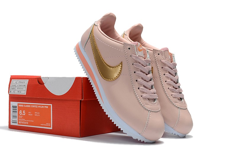 newest bb222 04f06 Most Popular Nike Cortez Leather Pink/Gold Running Sports Shoes 807471-800