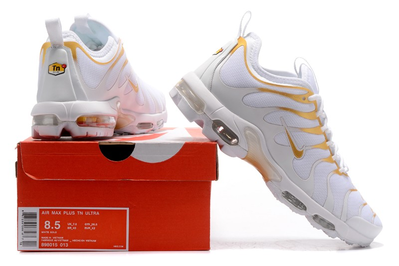 the best attitude a3bbc f93c3 New Style Nike Air Max Plus TN Ultra White/Gold 898015-013 Running Shoes  Sale