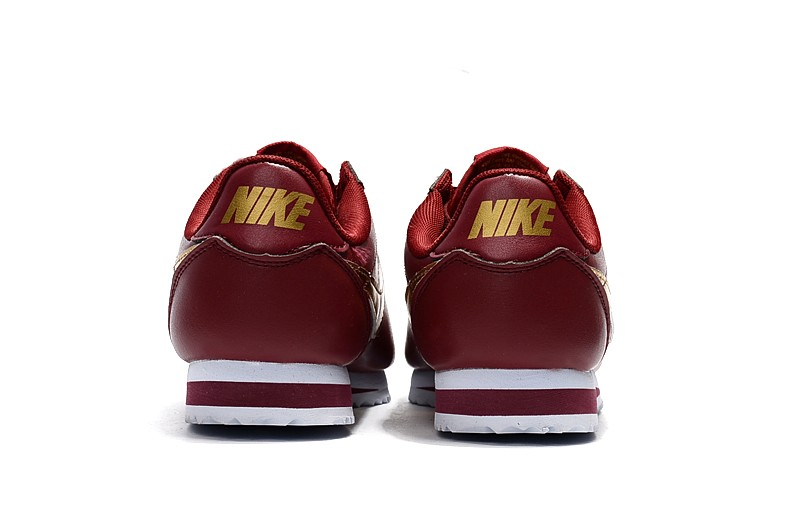 huge discount 4b84e 483e8 New Style Nike Cortez Basic Leather Red/Gold/White Running Shoes 807471-671