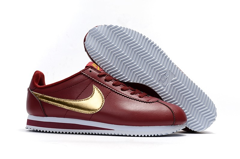 huge discount 8ab37 ac5bf New Style Nike Cortez Basic Leather Red/Gold/White Running Shoes 807471-671