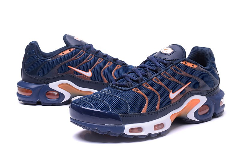 Newest Nike Air Max Plus TN Ultra Navy Blue Orange Men s Running ... b292b58a6a37