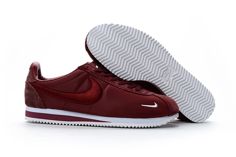 Newest Nike Cortez Nylon Embroidery Unisex Leisure Running Shoes Wine-Red  White 37ac832f5