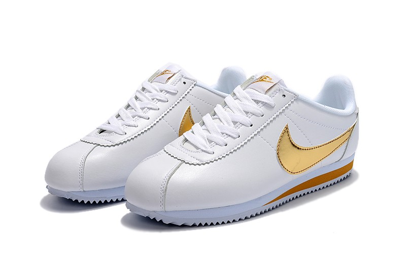 finest selection 180e1 32df0 Nike Classic Cortez Basic Leather White/Gold Mens Womens Running Shoes  807471-171