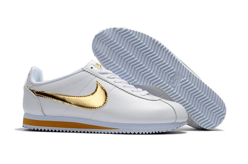 finest selection ba34e 1a7e5 Nike Classic Cortez Basic Leather White/Gold Mens Womens Running Shoes  807471-171