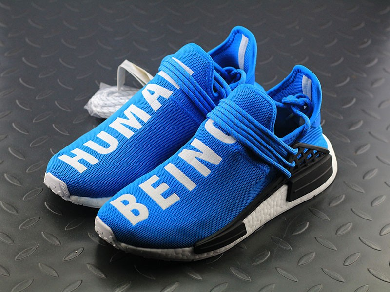 separation shoes 0c6a8 85b9d Pharrell Williams X Adidas NMD Human Race 'Shale Blue' Running Shoes