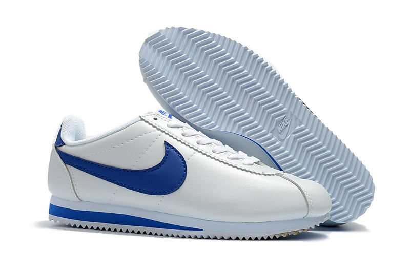 brand new b7bc1 59af8 Popular Nike Classic Cortez Leather White/Blue Running Shoes 861535-102 For  Sale