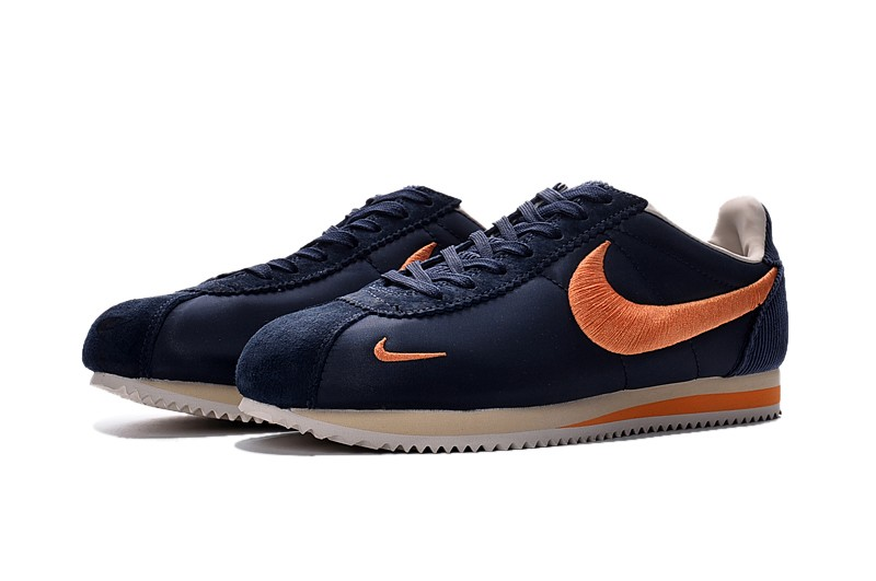 buy popular 9af6c aa4c8 Top Quality Nike Cortez Nylon Embroidery Dark Blue/Orange Leisure Shoes For  Sale