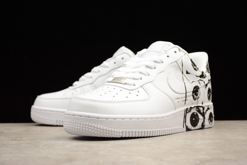newest 20815 e5a76 Supreme x CDG x Nike Air Force 1 White Mens Womens Sneakers 923044-100