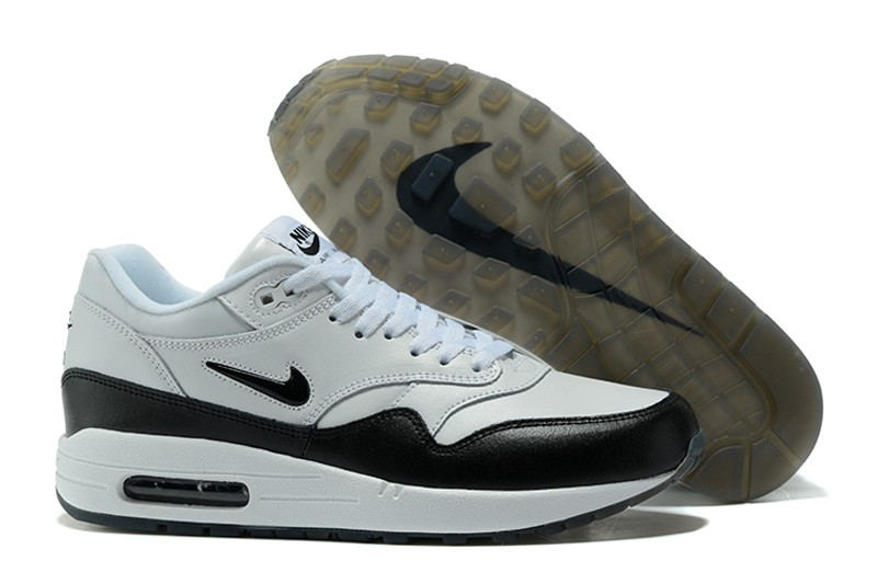 quite nice f4499 bac11 Classic Men s Nike Air Max 1 Jewel-Black-White Running Shoes ...