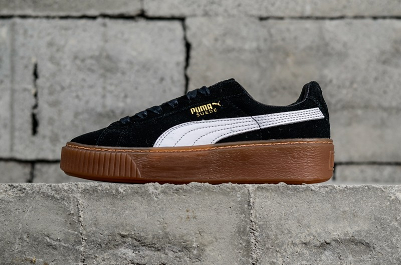 wholesale dealer 3216b 50a8b Classic PUMA Basket Suede Platform Black/White Women's Sneakers 363559-02