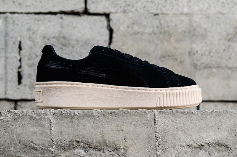 Latest Style PUMA Basket Suede Platform Black/White/Gold Womens Shoes  365828-05