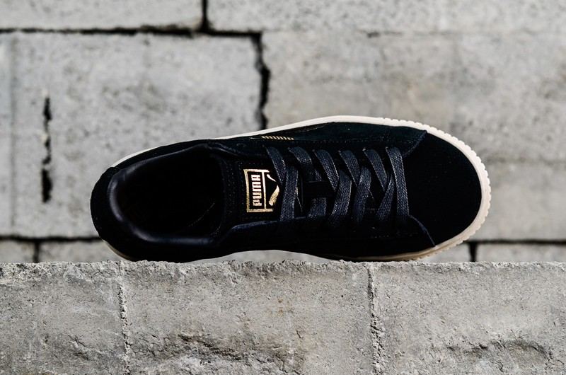 new concept b9b2d 8a200 Latest Style PUMA Basket Suede Platform Black/White/Gold Womens Shoes  365828-05
