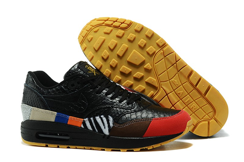 df792b36528e6 Most Popular Nike Air Max 1 Black Colorful 910772-001 Running Shoes On Sale