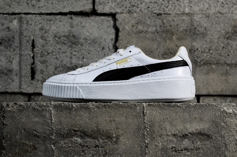 2c9b25e46b Most Popular PUMA Basket Platform White Black Women s Sneakers 364040-05