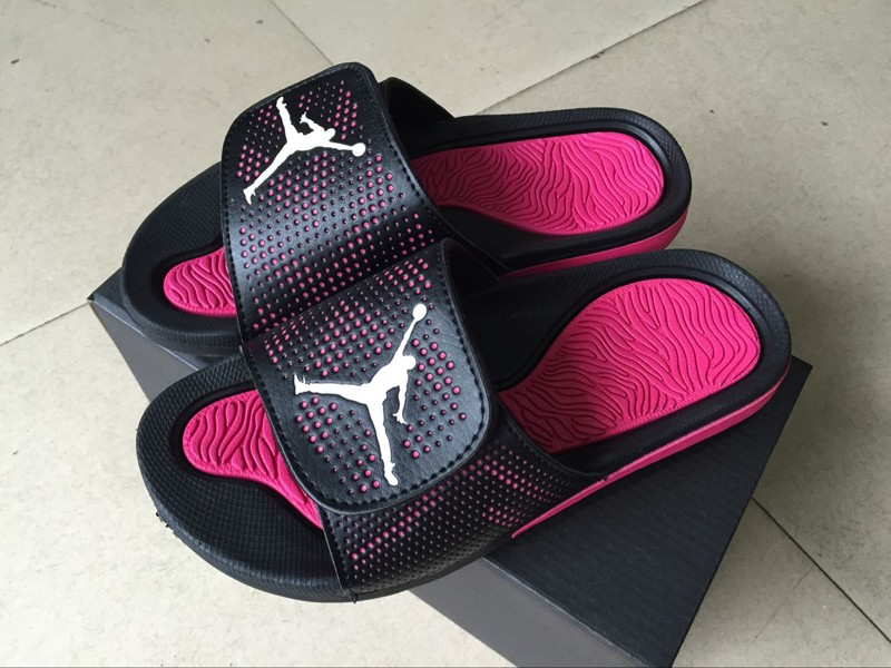 eede7ae412b2a1 Most Popular Women s Jordan Hydro 5 Black White Vivid Pink Retro ...