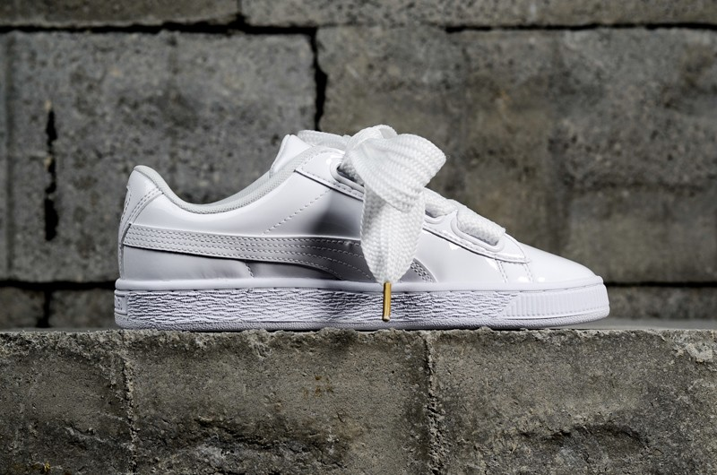 online store 6f3dc 67264 New Arrival PUMA Basket Heart Patent White 363073-02 Women's Shoes Sneakers