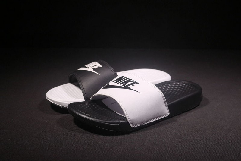 cb253ee20392 New Style Nike Benassi Swoosh Summer Slide White Black Sandals Shoes ...