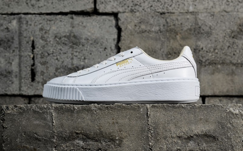 Newest Puma Basket Platform Core White/Gold 364040-04 Women's Casual Shoes