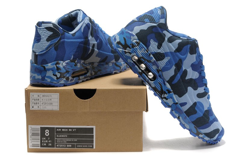 Nike Air Max 90 VT Camouflage-Blue-Black 472513-009 Running Shoes ... d73b32389dc