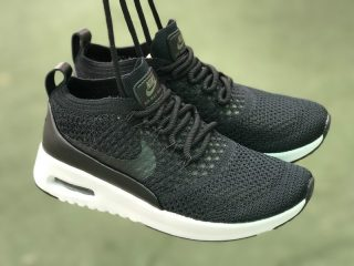 Nike Air Max Thea Ultra Flyknit 87 Black White 881174 001 Running Shoes For Sale