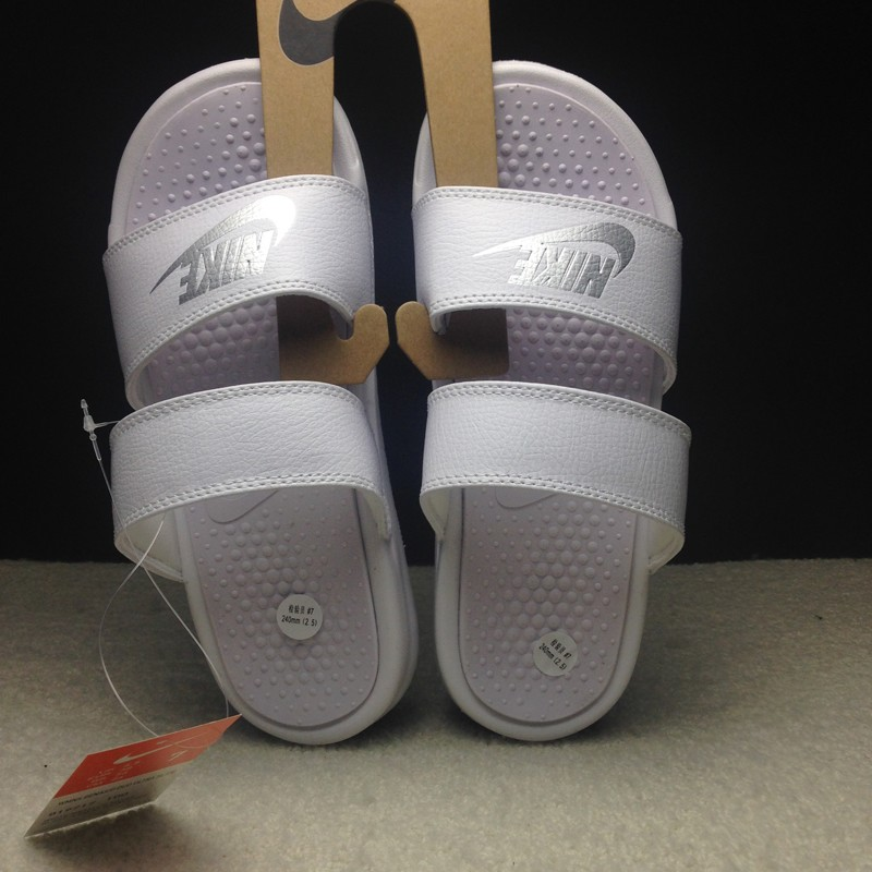 official photos 8746d 07b9a Nike Benassi Duo Ultra Slide Women Triple White Sandal Slippers 819717-100