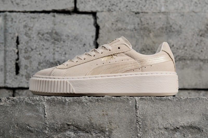 PUMA Basket Suede Platform Mono Satin Beige 365828-02 Womens Shoes Super  Deals