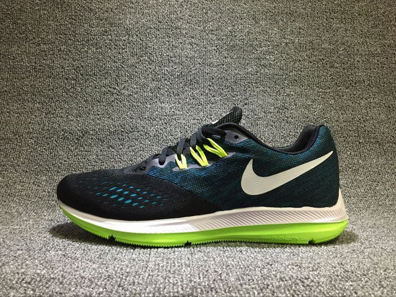 Popular Nike Zoom Winflo 4 Black Bule Green White Running Shoes ... dd83b74088