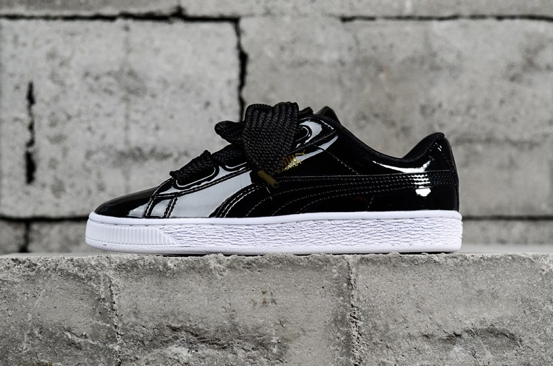 wholesale dealer cacd5 12ea1 Stylish PUMA Basket Heart Patent Black 363073-01 Womens Shoes Sneakers