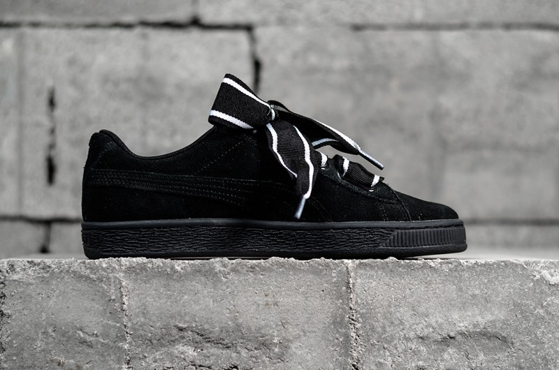 new style 5167a 0ff6b Stylish PUMA Basket Suede Heart Satin Black 364084-01 Womens Shoes Sneakers