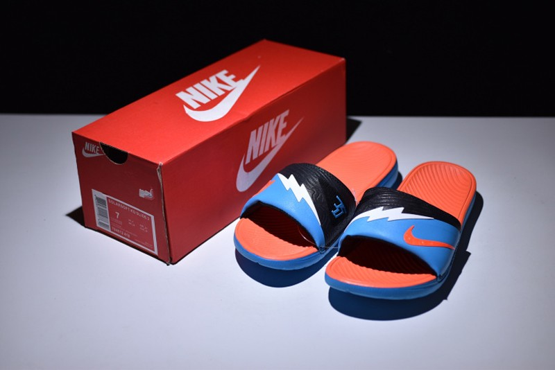 9b166bbb85c911 Nike Solarsoft KD Slide Vivid Blue White Orange 704812-418 Men s Women s  Slippers