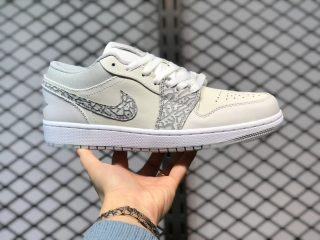 "Air Jordan 1 Low PRM ""Elephant Print"" White/Neutral Grey-Sail-Smoke Grey DH4269-100"