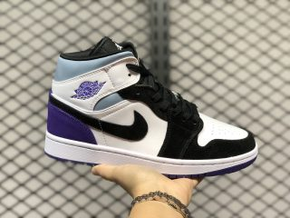 Air Jordan 1 Mid Black/White-Purple Men's Sneakers DC1419-105