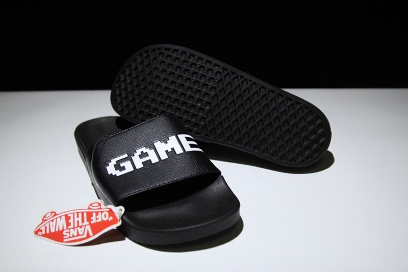 1efae581f81891 Brand New VANS Slide On Black White Letter Summer Beach Surf Casual ...