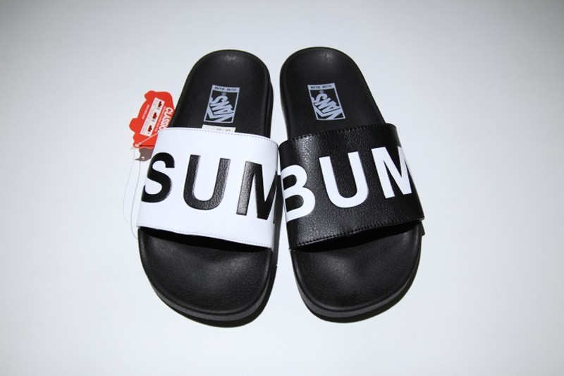 d55d9a48ce0cdb Newest VANS Slide On Sandals Beach Surf Men s Women s Letter-Black-White  Slippers