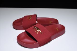 1c599ea0c90 Puma Leadcat Suede Sandals Red Dahlia Gold 365758-04 Men s-Women s Slippers