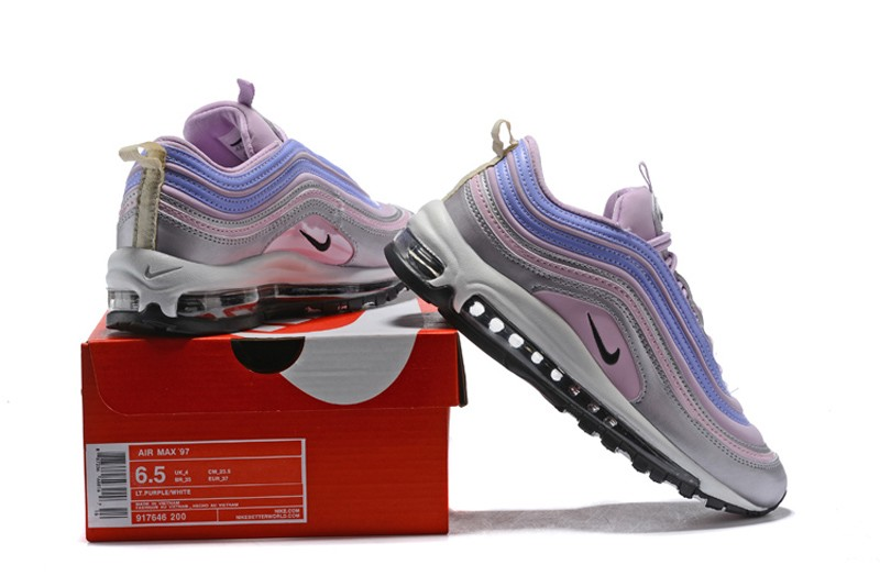 add33a741876 2018 New Arrival Nike Air Max 97 Grey Pink Blue Women s Running Shoes Hot  Sale