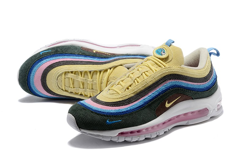 new product 2b43a c2c0d 2018 New Nike Air Max 97 Sean Wotherspoon Corduroy Black/Yellow/Blue  Jogging Shoes